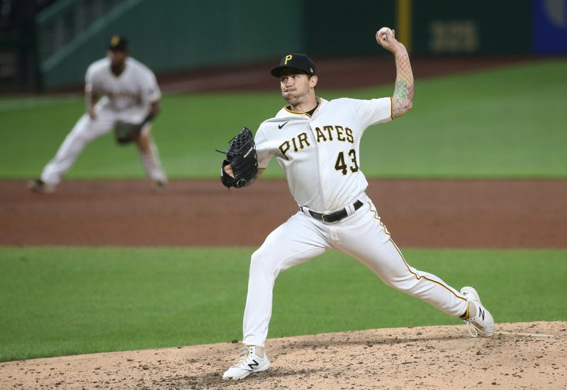 Pirates starting pitcher Steven Brault (43) pitches the ninth inning