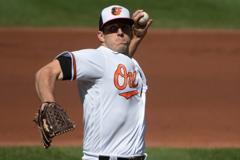 Orioles starter John Means stares down an opponent during the 2020 season.