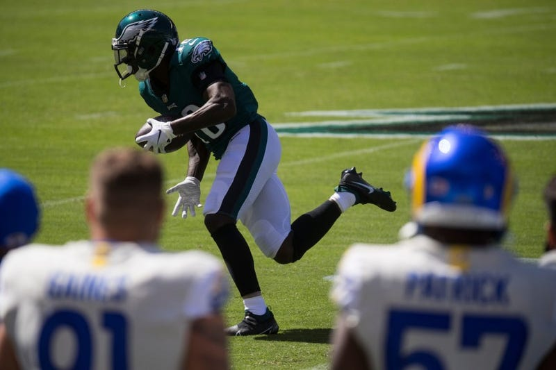 Eagles' Jalen Reagor (18) runs after making a reception Sunday, Sept. 20, 2020, at Lincoln Financial Field.