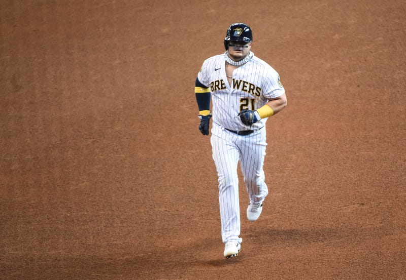Milwaukee Brewers first baseman Daniel Vogelbach (21) runs the bases after hitting a three-run home run in the sixth inning against the Kansas City Royals at Miller Park. Mandatory Credit: Benny Sieu-USA TODAY Sports