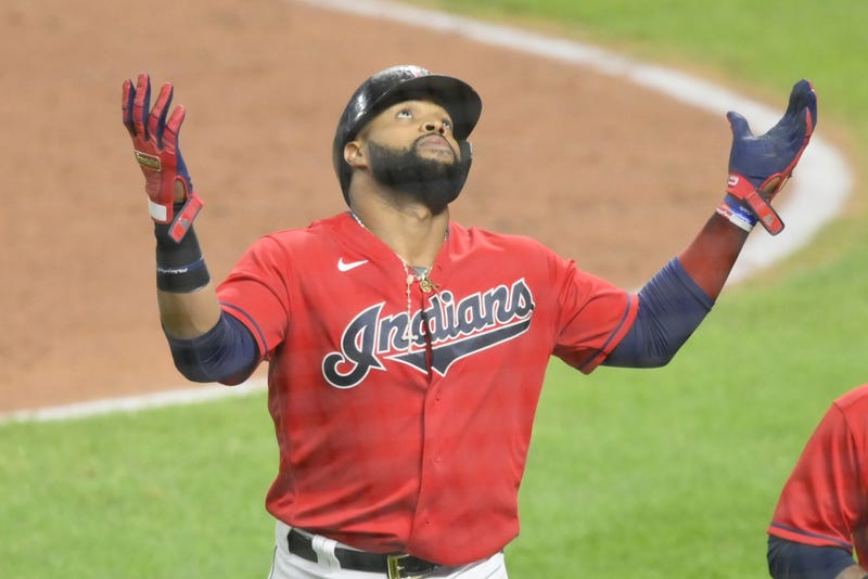 Cleveland Indians first baseman Carlos Santana (41) celebrates his two-run home run in the fifth inning against the Chicago White Sox at Progressive Field.