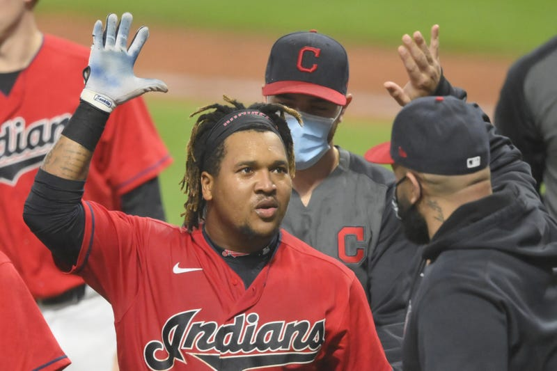 Cleveland Indians third baseman Jose Ramirez celebrates his game-winning, three-run home run in the tenth inning against the Chicago White Sox at Progressive Field