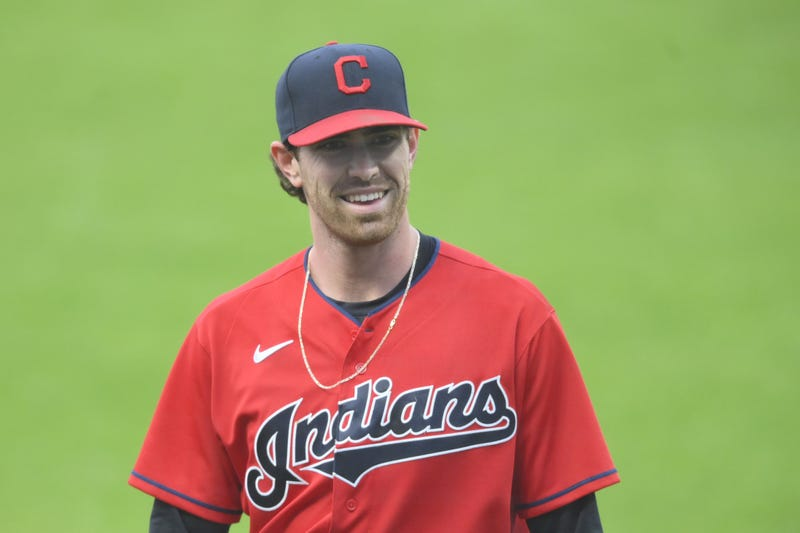 Cleveland Indians starting pitcher Shane Bieber (57) walks off the field in the first inning against the Chicago White Sox at Progressive Field.
