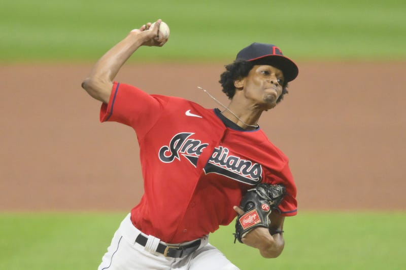 Sep 23, 2020; Cleveland, Ohio, USA; Cleveland Indians relief pitcher Triston McKenzie (26) delivers in the sixth inning against the Chicago White Sox at Progressive Field.