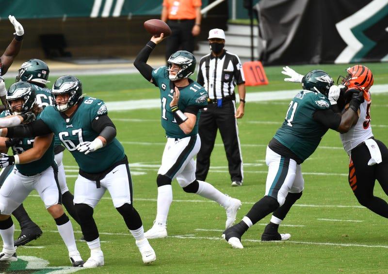Philadelphia Eagles quarterback Carson Wentz (11) throws an interception