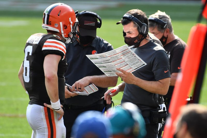 Cleveland Browns head coach Kevin Stefanski looks at his play chart a during the second quarter against the Pittsburgh Steelers at Heinz Field.