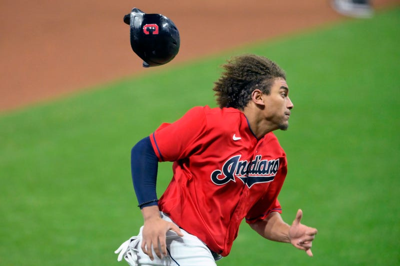 Sep 29, 2020; Cleveland, Ohio, USA; Cleveland Indians left fielder Josh Naylor (31) rounds third base while scoring against the New York Yankees in the ninth inning at Progressive Field.