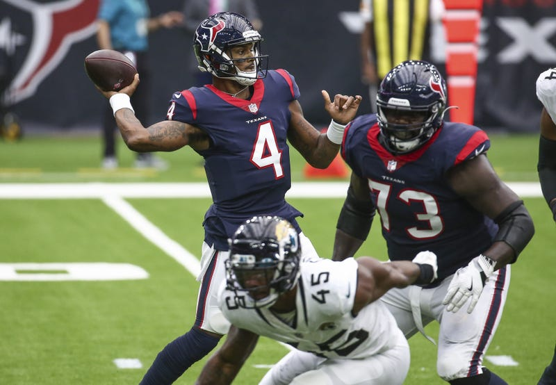 Houston Texans quarterback Deshaun Watson (4) attempts a pass during the first quarter against the Jacksonville Jaguars at NRG Stadium.