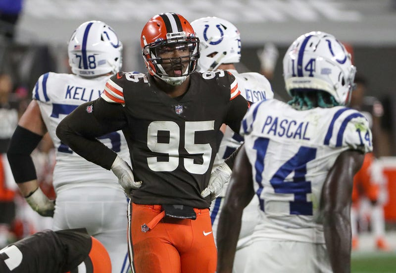 Cleveland Browns defensive end Myles Garrett (95) rests between plays during the fourth quarter of the NFL week 5 game at First Energy Stadium in Cleveland, Ohio, on Sunday, Oct. 11, 2020. The Browns won, 32-23. Indianapolis Colts At Browns At First Energy Stadium In Nfl Week 5 Cleveand Ohio