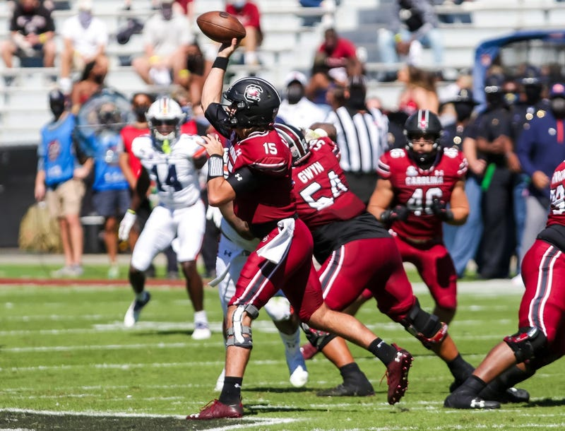 South Carolina Gamecocks quarterback Collin Hill (15) passes against the Auburn Tigers during the second quarter at Williams-Brice Stadium.