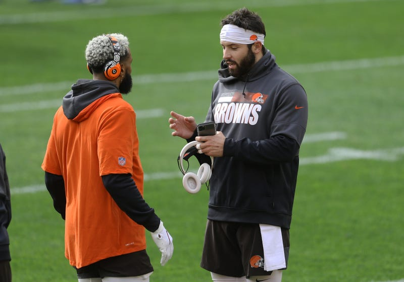 Cleveland Browns wide receiver Odell Beckham Jr. (left) and quarterback Baker Mayfield (right) talk on the field before playing the Pittsburgh Steelers at Heinz Field.