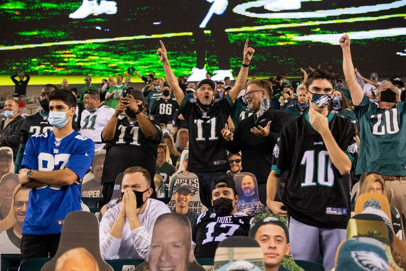 Fans react as the Eagles beat the Giants 22-21 Thursday, Oct. 22, 2020, in Philadelphia.