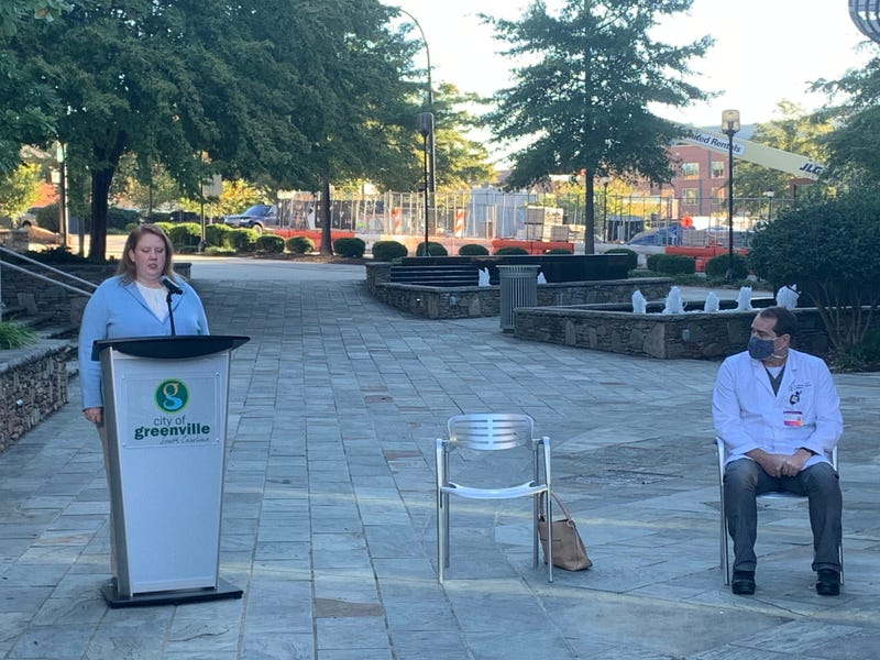 Dr. Brannon Traxler, interim director of public health at the state Department of Health and Environmental Control, speaks at a press conference in downtown Greenville on Friday, Oct. 30, 2020.