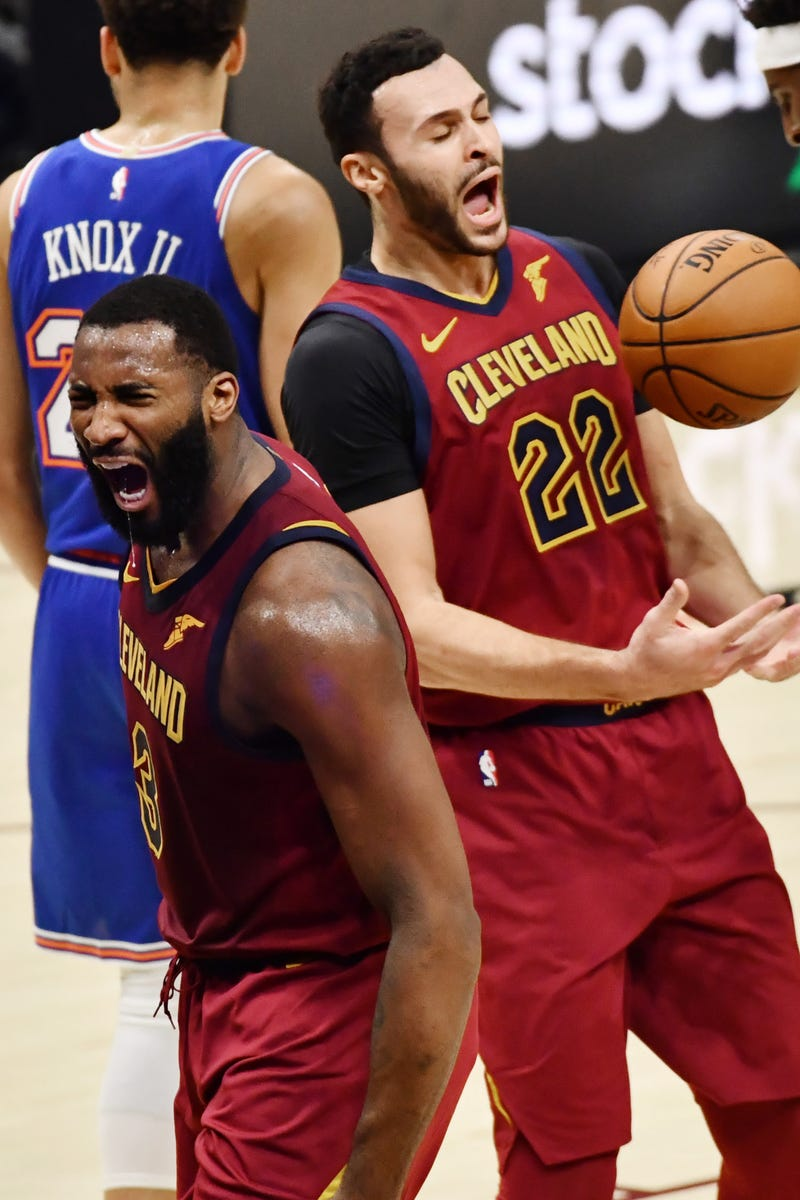 Cleveland Cavaliers center Andre Drummond (3) and forward Larry Nance Jr. (22) react after a play against the New York Knicks during the second quarter at Rocket Mortgage FieldHouse.