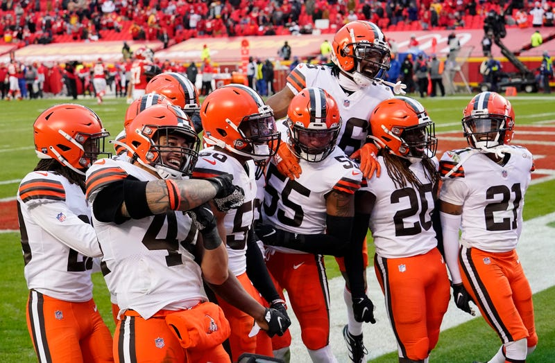 Cleveland Browns strong safety Karl Joseph (42) celebrates his interception against the Kansas City Chiefs during the second half in the AFC Divisional Round playoff game at Arrowhead Stadium.