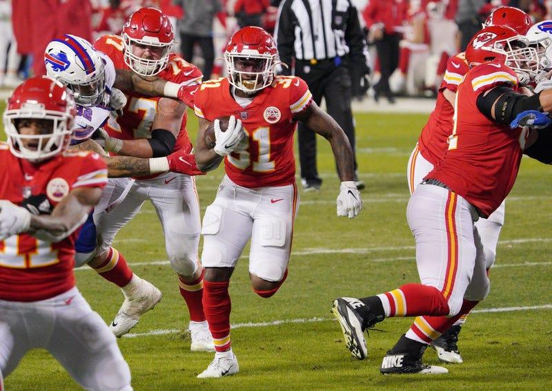 Kansas City Chiefs running back Darrel Williams (31) runs against the Buffalo Bills during the fourth quarter in the AFC Championship Game at Arrowhead Stadium.