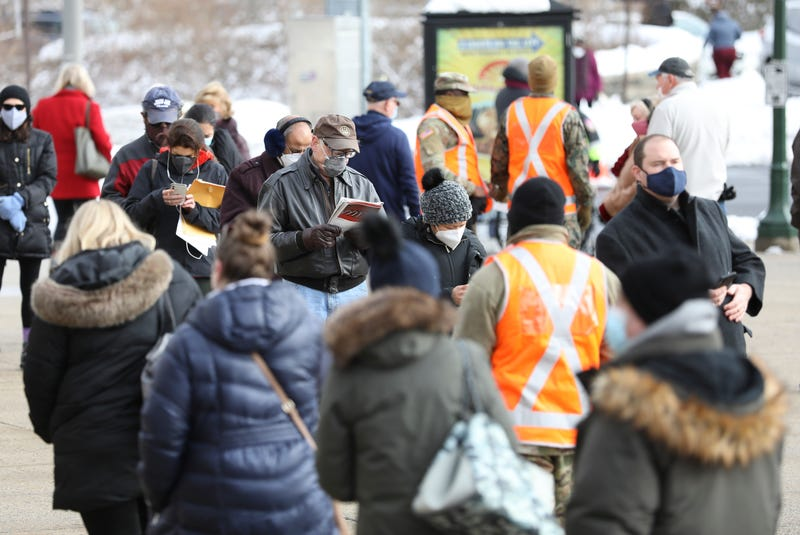 File photo: People with appointments for the COVID-19 vaccine wait on line at the Westchester County Center in White Plains on Wednesday, February 3, 2021