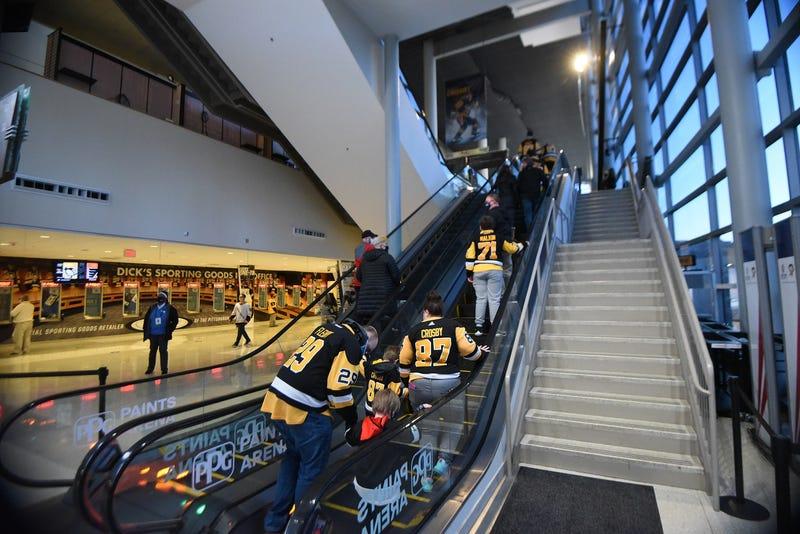 Fans arrive at a Penguins game