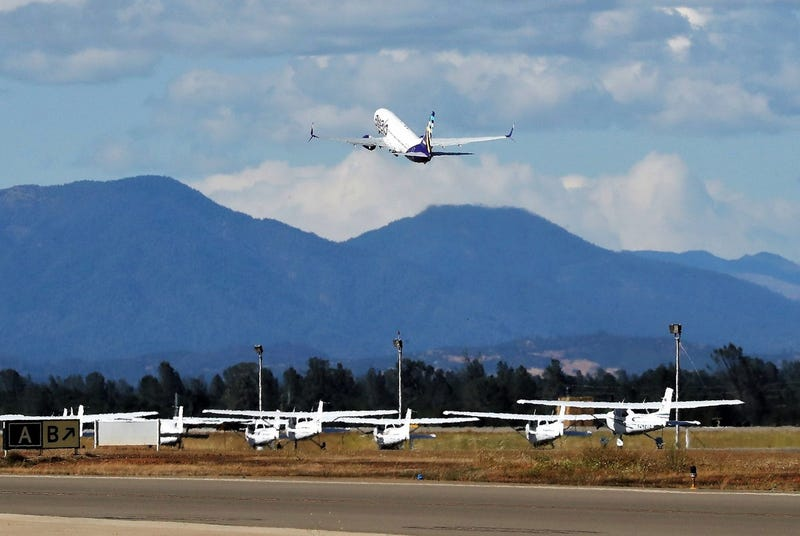 A plane takes off from Hollywood Burbank Airport.
