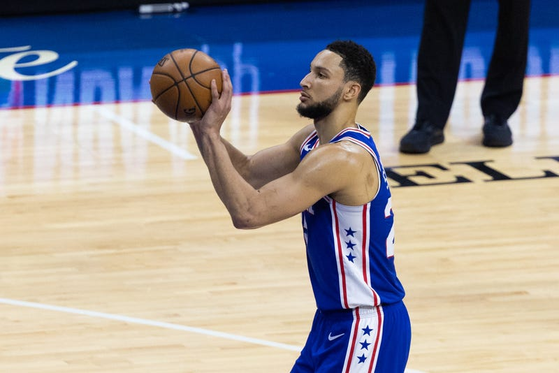 Sixers guard Ben Simmons attempts a free throw.