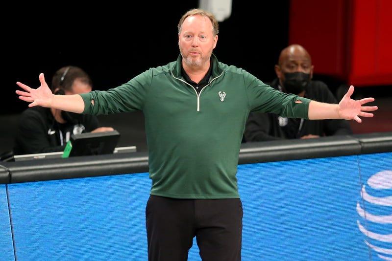 Bucks head coach Mike Budenholzer on the sideline.