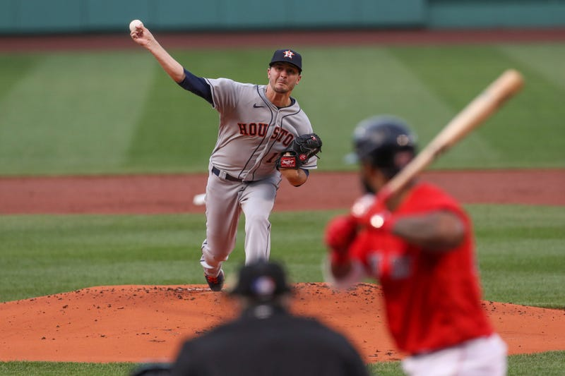 Houston Astros starting pitcher Jake Odorizzi (17) throws a pitch during the first inning against the Boston Red Sox at Fenway Park.