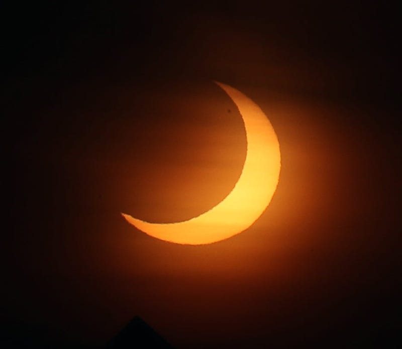 The partial solar eclipse over Putnam County on Thursday morning