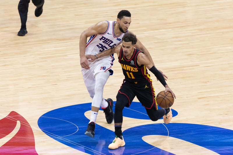 Ben Simmons guards Atlanta's Trae Young in Game 7 of the Eastern Conference Semifinals