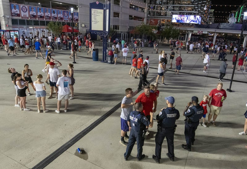 Outside Nationals Park after a shooting Saturday