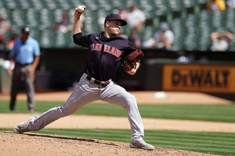 Cleveland Indians relief pitcher Phil Maton (88) throws a pitch during the eighth inning against the Oakland Athletics at RingCentral Coliseum.