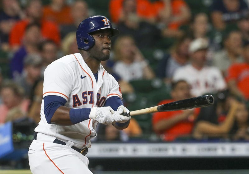 Houston Astros designated hitter Yordan Alvarez (44) hits a double against the Cleveland Indians in the seventh inning at Minute Maid Park.
