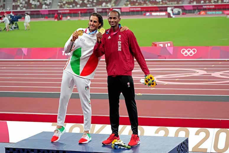 Mutaz Essa Barshim and Gianmarco Tamberi during gold medal ceremony, high jump, Tokyo 2020 Olympic Summer Games