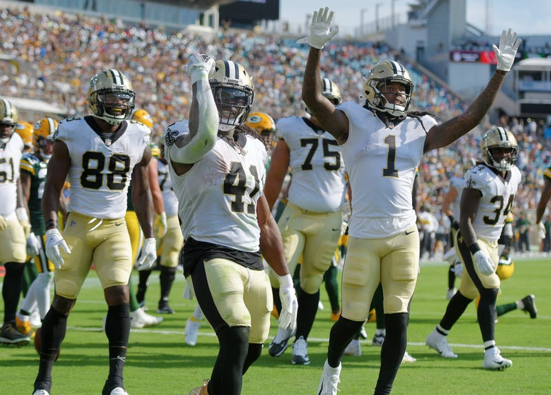 New Orleans Saints players celebrate