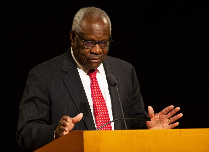 Supreme Court Justice Clarence Thomas speaks on Thursday, Sept. 16, 2021, at the University of Notre Dame.