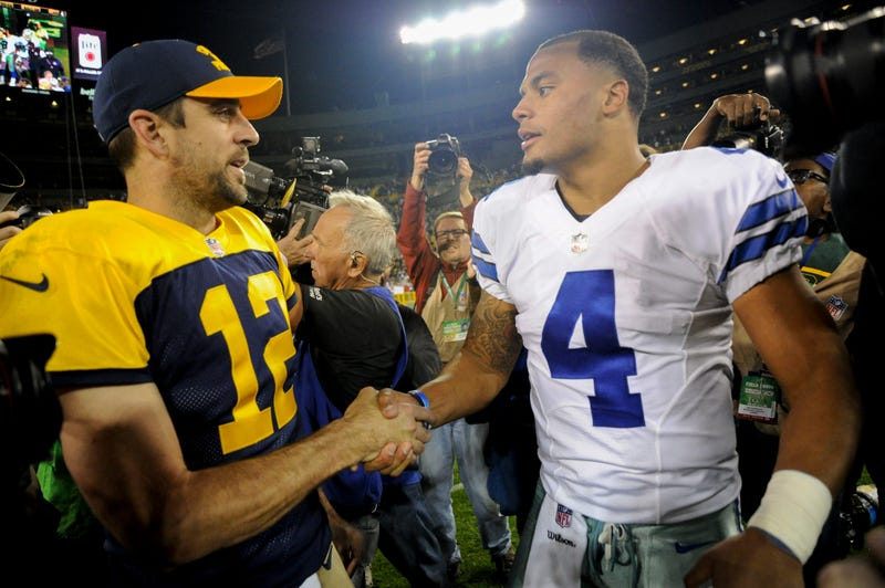 Aaron Rodgers (left) and Dak Prescott (right) will square off in Dallas Sunday.
