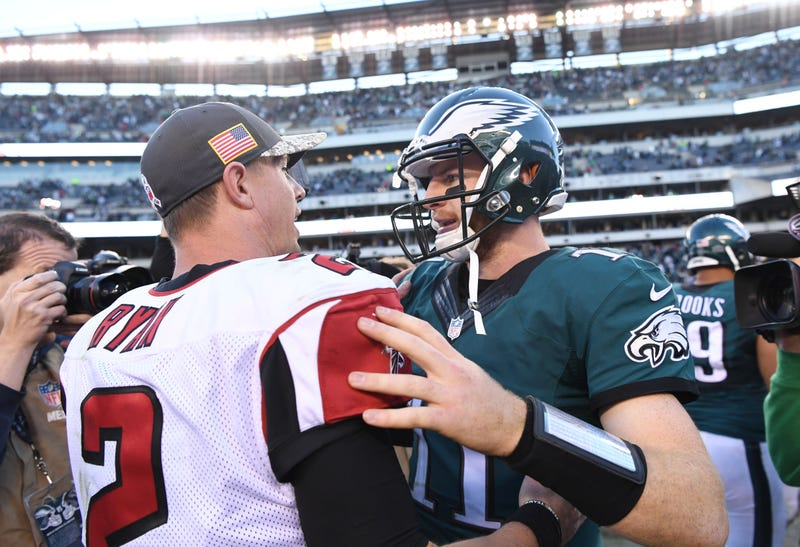 Matt Ryan (left) and Carson Wentz (right) will meet on Sunday Night Football.