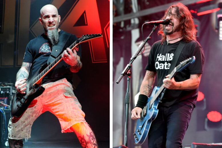 Scott Ian of Anthrax and Dave Grohl of Foo Fighters perform on -stage.
