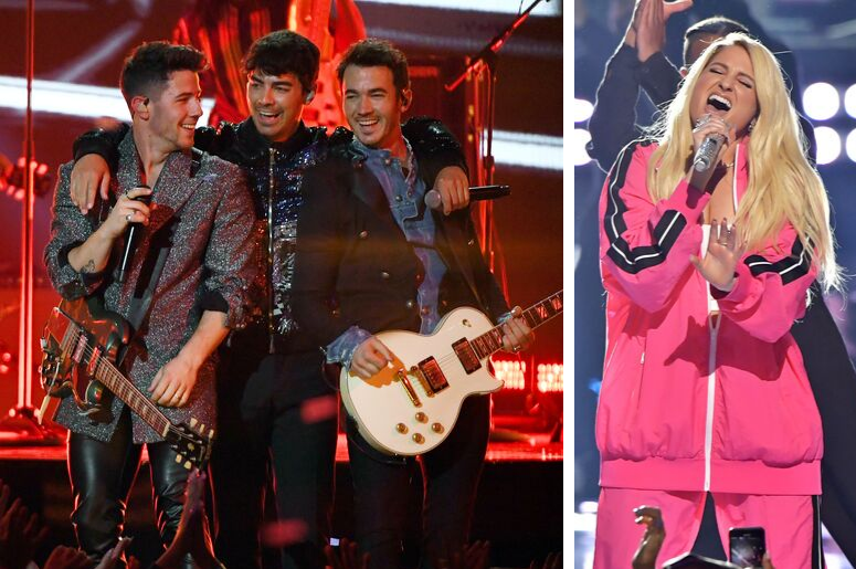 The Jonas Brothers and Meghan Trainor perform on stage