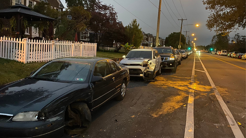 Car plows into several others parked in Northeast Philadelphia