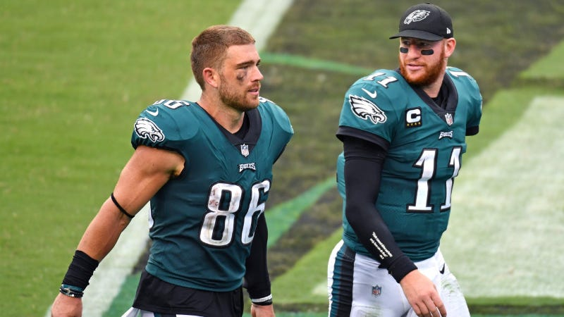Philadelphia Eagles tight end Zach Ertz (86) and quarterback Carson Wentz (11)