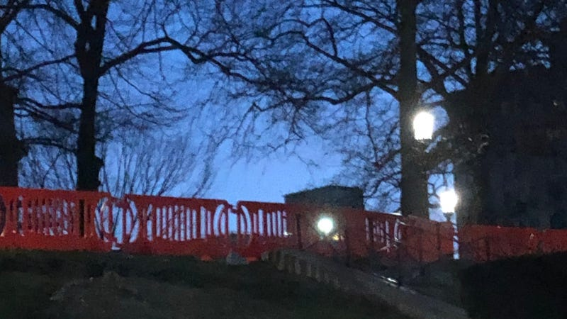 Barricades are set up around the Pennsylvania State Capitol building as officials plan for potential unrest this weekend in Harrisburg.