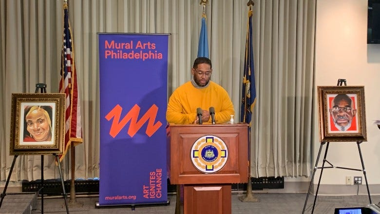 """James """"Yaya"""" Hough speaking at his exhibition that's now on display at the Philadelphia District Attorney's Office"""