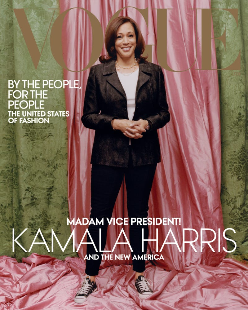 Vice President–elect Kamala Harris wears a Donald Deal jacket and Converse sneakers on the cover of Vogue's February 2021 issue.