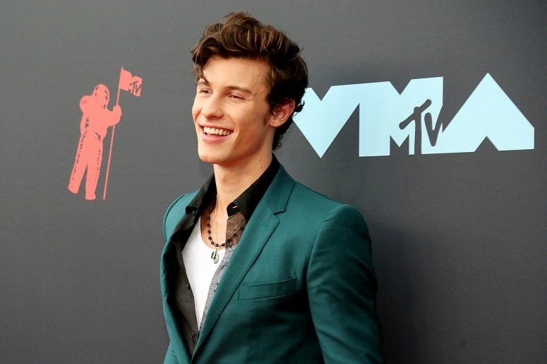Shawn Mendes attends the 2019 MTV Video Music Awards at Prudential Center on August 26, 2019