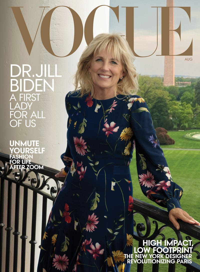 First lady Jill Biden on the cover of Vogue's August 2021 issue, on newsstands nationwide July 20, in a dress by Laura Kim and Fernando Garcia for Oscar de la Renta. Earrings by Tiffany & Co. Fashion Editor: Tonne Goodman, hair by Sally Hershberger and makeup by Francelle Daly.