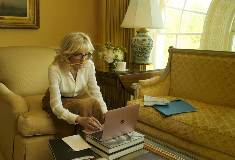 Dr. Biden, in a Ralph Lauren blouse and skirt, in the East Sitting Hall of the White House. Fashion Editor: Tonne Goodman