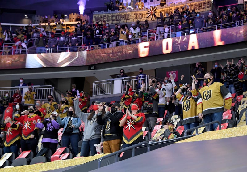 Vegas Golden Knights fans cheer on the team at the T-Mobile Arena