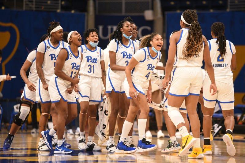 Pitt women celebrate a win