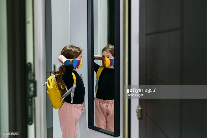 Little girl backpack mask