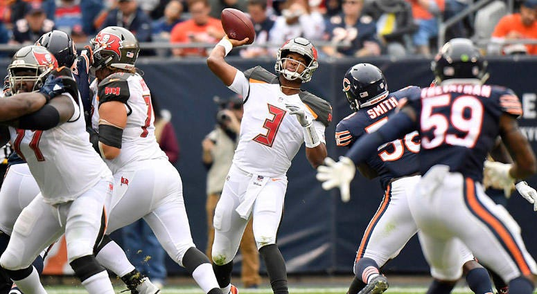 Buccaneers QB Jameis Winston passes against the Bears on Sept. 30, 2018 at Soldier Field in Chicago.